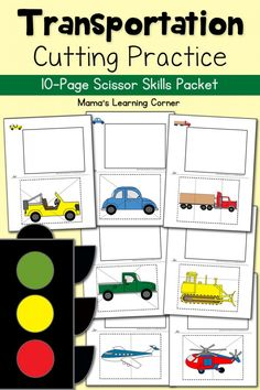 Transportation Cutting Practice - set of transportation worksheets to practice scissor skills! Perfect for preschool through first grade. Transportation Theme Preschool, Transportation Worksheet, Preschool Themes, Preschool Cutting Practice, Cutting Activities, Printable Preschool Worksheets, Kindergarten Worksheets, Kindergarten Readiness, Free Printable
