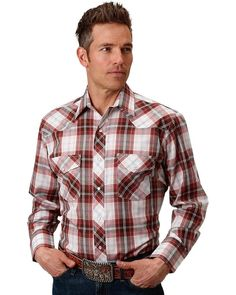 49df7161632a Roper Men s Brown Red White Plaid Long Sleeve Snap Shirt - 01-001