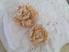 TWO HANDMADE SILK BRIDAL FLOWERS WITH ELEGANT CASCADING STAMENS