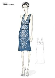 MIUCCIA PRADA has unveiled four sketches of her costumes for the highly-anticipated Baz Luhrmann film adaptation of The Great Gatsby, which is due to hit cinemas this summer. Prada worked with costume designer Catherine Martin to create over 40 looks for The Great Gatsby Movie, Great Gatsby Dresses, Great Gatsby Fashion, Cute Fashion, High Fashion, Fashion Tape, Miuccia Prada, Vestidos Gran Gatsby, Costume Gatsby