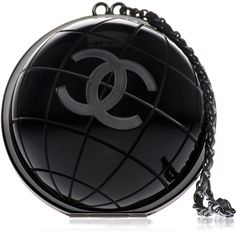 Pre-owned Chanel Black Globe Clutch Bag ($9,500) ❤ liked on Polyvore featuring bags, handbags, clutches, chanel, purses, kiss-lock handbags, handbags purses, preowned handbags, kisslock purse and pre owned purses