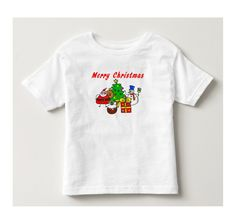 Merry Christmas Toddler Fine Jersey T-Shirt. Your search for the ultimate toddler basic t-shirt is officially over. This soft, cotton tee comes in a classic white. Dress it down with jeans or up with khakis. No matter how your little guy or gal wears it, this tee is guaranteed to be in style.
