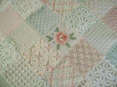 Vintage Chenille 'Cabbage Roses' Ultra PLUSH Lap Quilt by TWFaith