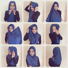 A simple step by step guide to style the half moon shawl. Image courtesy of Radi… – Hijab Fashion 2020 Simple Hijab Tutorial, Hijab Style Tutorial, Pashmina Hijab Tutorial, How To Wear Hijab, Turban Hijab, Stylish Hijab, Scarf Styles, Hijab Styles, Hijabi Girl
