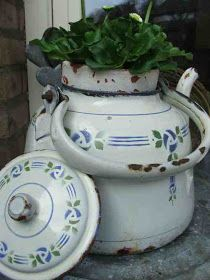 old enamel teapot...love the container...just a great idea instead of trashing the pot!