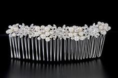Pearl Tiara Comb with Rhinestone Flowers