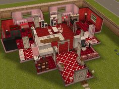 #SimsFreeplay heart shaped house that goes with a red theme.  I like how the kitchen is central to the whole house.