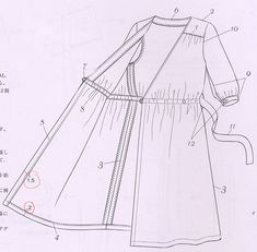 Japanese craft books info- this is the order that the dress is sewn..  Scary when you first look, but actually quite useful and simple...