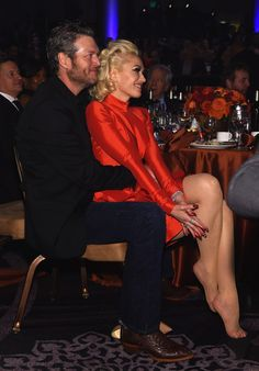 Recording artists Blake Shelton (L) and Gwen Stefani attend the 2016 Pre-GRAMMY Gala and Salute to Industry Icons honoring Irving Azoff at The Beverly Hilton Hotel on February 14, 2016 in Beverly Hills, California.