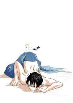 """""""Nhh,I need a little help here.""""*slips when sitting up and just lays there*<<Eren needs to help him. Mermaid Boy, Siren Mermaid, Eren Y Levi, Attack On Titan Levi, Levi Ackerman, Ereri, Levihan, Fantasy Creatures, Mythical Creatures"""