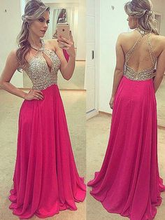 Beautiful Charming A Line Halter Rose Red Open Back Long Prom Dresses with Beading, Sparkly Evening Dresses Prom Dresses For Teens Long, Prom Dresses Long Open Back, Black Prom Dresses, Homecoming Dresses, Bridesmaid Dresses, Formal Dresses, Red Wedding Gowns, Stunning Prom Dresses, Prom Looks