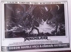 Dragonslayer Movie ads Film Releases, Fantasy Films, First Tv, Movie Poster Art, Paramount Pictures, Scene Photo, Dragons, Medieval, Ads