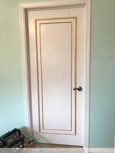 An Easy & Inexpensive Way To Update Flush (Flat Panel) Interior Doors With Molding – Addicted 2 Decorating® Diy Interior Doors, Best Interior Paint, Faux Stone Panels, Faux Panels, Wooden Door Design, Wooden Doors, Porta Diy, Door Molding, Moulding