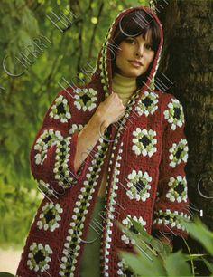 INSTANT DOWNLOAD Granny Square Jacket, Hooded Hobo Jacket, Digital Crochet Pattern, PDF crochet Pattern, granny square crochet sweater