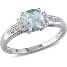 Amour 0.05 Ct Diamond Tw And 4/5 Ct Tgw Aquamarine Fashion Ring 10k... (820 BRL) ❤ liked on Polyvore featuring jewelry, rings, no color, polish jewelry, aquamarine diamond ring, amour jewelry, aquamarine jewelry and white gold jewellery