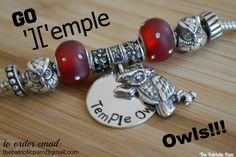 Temple Owls Football charm & owl spacers.  .925 Sterling Silver. #TempleMade #ItBegins #TUFB