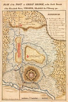 Yorktown, 1781 Virginia, Great Bridge, Chesapeake, Plan, Revolutionary War Map