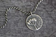 BOTANICAL IMPRESSIONS:  Botanical Charm, Pendant, Flower Charm, Botanical, Sterling Silver, PMC, 20 inch, Wheat Chain, Boho, Rustic by MossyCreekStudio on Etsy