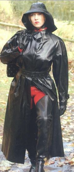 Black Rubber Raincoat, Hat & Waders