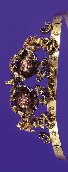 ENAMEL AND RUBY DIADEM, CIRCA 1860