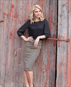 Cream Chevron skirt : Mikarose Fashion, Reinventing Modest Fashion