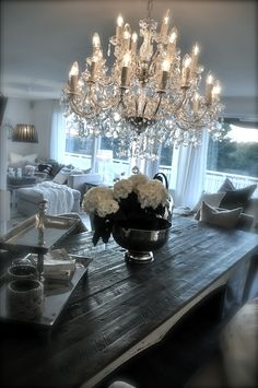 """Dining Room: Farm Table 84"""" expands to 102"""" (RH) Chandelier (2)"""