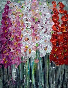 Original Oil Painting FLOWERS for YOU Modern by LUIZAVIZOLI, $75.00