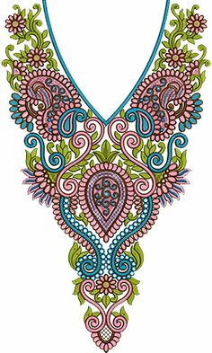 8498 Neck Embroidery Design Border Embroidery Designs, Bead Embroidery Patterns, Lace Patterns, Textile Patterns, Applique Designs, Crochet Designs, Beaded Embroidery, Machine Embroidery Designs, Crochet Motifs