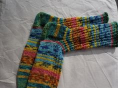 Art socks size 6-7 (EU-size 40-41 ) handknit from multicolour sockyarn dyed in colours after painting from Hundertwasser by PurpleValleyDesign on Etsy
