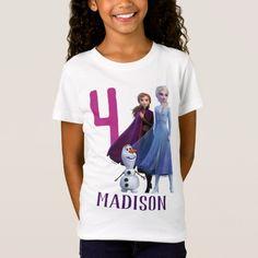 Frozen 2 - Anna, Elsa & Olaf Birthday Girl T-Shirt Frozen Birthday Shirt, Birthday Girl T Shirt, Olaf Birthday, Disney Frozen Birthday, Birthday Shirts, Princess Birthday, Birthday Ideas, Cute Frozen, Frozen Party