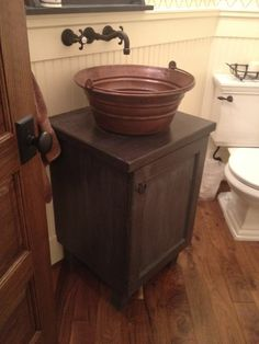 Downstairs bathroom idea: Bucket sink on cabinet with wall faucet Primitive Bathrooms, Rustic Bathrooms, Shop With Living Quarters, Bucket Sink, Wall Faucet, Bathroom Images, Bathroom Ideas, Shed Homes, Master Bathroom