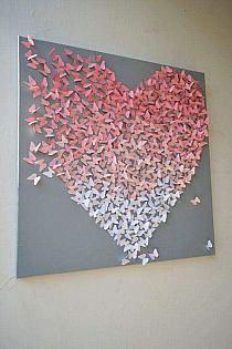 Light Pink Ombre Butterfly Heart on Grey/ Butterfly Wall Art / Nursery Art /Children's Room Decor / Engagement / Wedding Gift - gefällt mir - Decoration Diy Wall Art, Nursery Wall Art, Diy Art, 3d Wall, Nursery Canvas, Art Mural Papillon, Diy And Crafts, Paper Crafts, Butterfly Wall Art