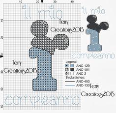Terry Pc Stitch: Bavaglino il mio primo compleanno (Minnie&Mickey) Mickey Mouse Birth, Mickey Y Minnie, Baby Mouse, Baby Cross Stitch Patterns, Cross Stitch For Kids, Mini Cross Stitch, Cross Stitching, Cross Stitch Embroidery, Cross Stitch Numbers
