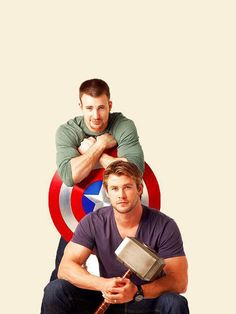 Chris Evans and Chris Hemsworth!Too much hotness going on in this picture!) but I mean ya Chris Evans is good looking but then you see Chris Hemsworth and c'mon you have to admit you want to just die a little 😍😍 Chris Evans Chris Hemsworth, Chris Pratt, Jeremy Renner, Steve Rogers, Christian Grey, The Avengers, Avengers Symbols, Hawkeye Avengers, Avengers 2012