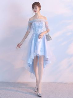 f9567cbe760a Tulle Prom Dress Pastel Blue Illusion Sash Off The Shoulder Lace Applique  Homecoming Dresses A Line High Low Party Dresses