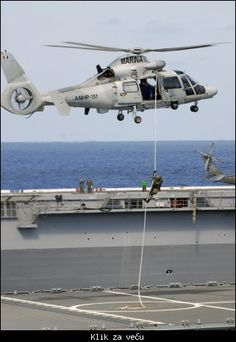 A Mexican marine fast ropes onto the flight deck of the German Combat Support Ship Frankfurt Am Main during a simulated multi-national maritime interdiction operation Military Helicopter, Military Aircraft, Airbus Helicopters, Mexican Army, Flight Deck, Best Western, Aircraft Carrier, Special Forces, Armed Forces