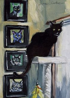 Original oil painting of black cat Morticia posing next to her cat portrait on the wall.  5 x 7 inches by Diane Irvine Armitage.