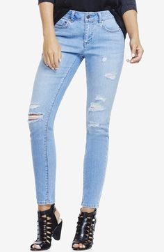 Two by Vince Camuto Ripped Skinny Jeans (Blue)