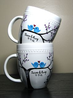Personalized Coffee Mugs Painted Cups Love Birds Set of Two. $40.00, via Etsy.
