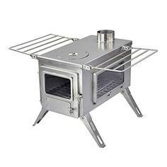 Winnerwell Nomad View Large Tent Stove is stainless steel construction with two viewing windows and all the features you need with a well-designed wood burning tent stove. Portable Wood Stove, Stove Guard, Tent Stove, Stove Accessories, Kitchen Set Up, Wood Fuel, Large Tent, Seasoned Wood, Ovens