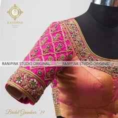 a with for a For enquiries please whatsapp us… Wedding Saree Blouse Designs, Pattu Saree Blouse Designs, Fancy Blouse Designs, Choli Designs, Saree Embroidery Design, Zardozi Embroidery, Designer Blouse Patterns, Kanchipuram Saree, Kanjivaram Sarees
