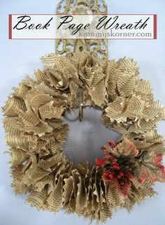 Kammy's Korner: Christmas Book Page Wreath