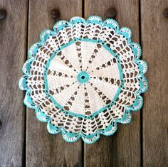 Turquoise And White Vintage Crochet Doily by CostaSul on Etsy