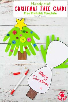 Make super fun and adorably cute Handprint Christmas Tree Cards. A fantastic Christmas craft to share with friends and family. This Christmas handprint craft makes a great festive keepsake. (Free Printable Christmas Card Template.) #kidscraftroom #kidscrafts #christmascrafts #christmascards #printables #printablecrafts #freeprintables #christmastree #toddlercrafts #handprintcrafts Christmas Handprint Crafts, Handmade Christmas Crafts, Preschool Christmas, Kids Christmas, Christmas Mood, Christmas Activities, Christmas 2019, Free Printable Christmas Cards, Christmas Tree Template
