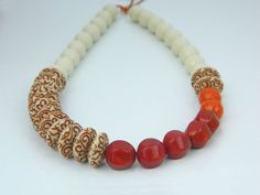 Long Necklace - Oxblood, Beige, Brown, Coral, Brick, Cream, Summer, Orange, Red, Tribal, Native American, Jewelry Necklace