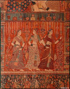 ca. 1640–50, Kalamkari Hanging with Figures in an Architectural Setting. India, Deccan, Culture: Islamic Medium: Cotton; plain weave, mordant-painted and dyed, resist-dyed.