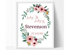 Personalized wedding cross stitch pattern, flower wreath cross stitch chart, rustic, floral, love, anniversary, counted cross stitch, pdf by PatternArtCollection on Etsy