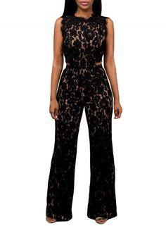 966e1a5d56e Black Lace Nude Illusion Back Cutout Jumpsuit - AZBRO.com