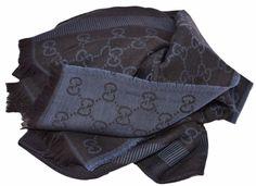 NEW Gucci 282390 Large Black Blue Wool Silk GG Guccissima Logo Scarf Shawl #Gucci #Scarf