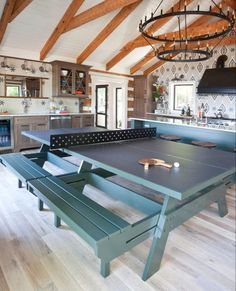 Ping pong table Real Wood Floors, Hardwood Floors, Flooring, Repurposed Wood, Ping Pong Table, Wood Design, Windows And Doors, Outdoor Living, Dining Room